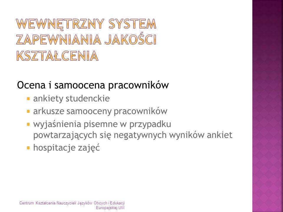 Ocena i samoocena pracowników ankiety studenckie arkusze samooceny pracowników wyjaśnienia pisemne w przypadku powtarzających się negatywnych wyników