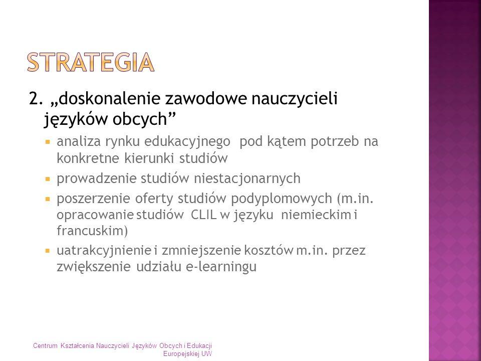 3 udział w kształceniu językowym studentów Uniwersytetu Warszawskiego prowadzenia lektoratów w ramach Uniwersyteckiego Systemu Nauczania Języków Obcych E-lektoraty wspólnie z COME lektoraty dedykowane dla zajęć dodatkowej specjalności nauczycielskiej prowadzenie całości zajęć w języku obcym Centrum Kształcenia Nauczycieli Języków Obcych i Edukacji Europejskiej UW