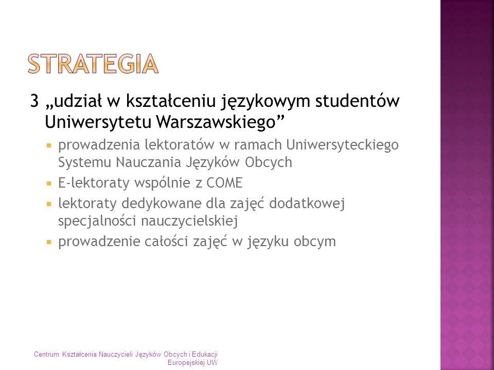 3 udział w kształceniu językowym studentów Uniwersytetu Warszawskiego prowadzenia lektoratów w ramach Uniwersyteckiego Systemu Nauczania Języków Obcyc