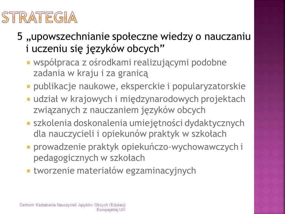 6 rozwijanie stałych i silnych związków z regionem w dziedzinie nauczania języków obcych szkoły Biuro Edukacji Miasta Stołecznego Warszawy stowarzyszenia/towarzystwa naukowe i zawodowe instytucje edukacyjne przedsiębiorstwa Centrum Kształcenia Nauczycieli Języków Obcych i Edukacji Europejskiej UW