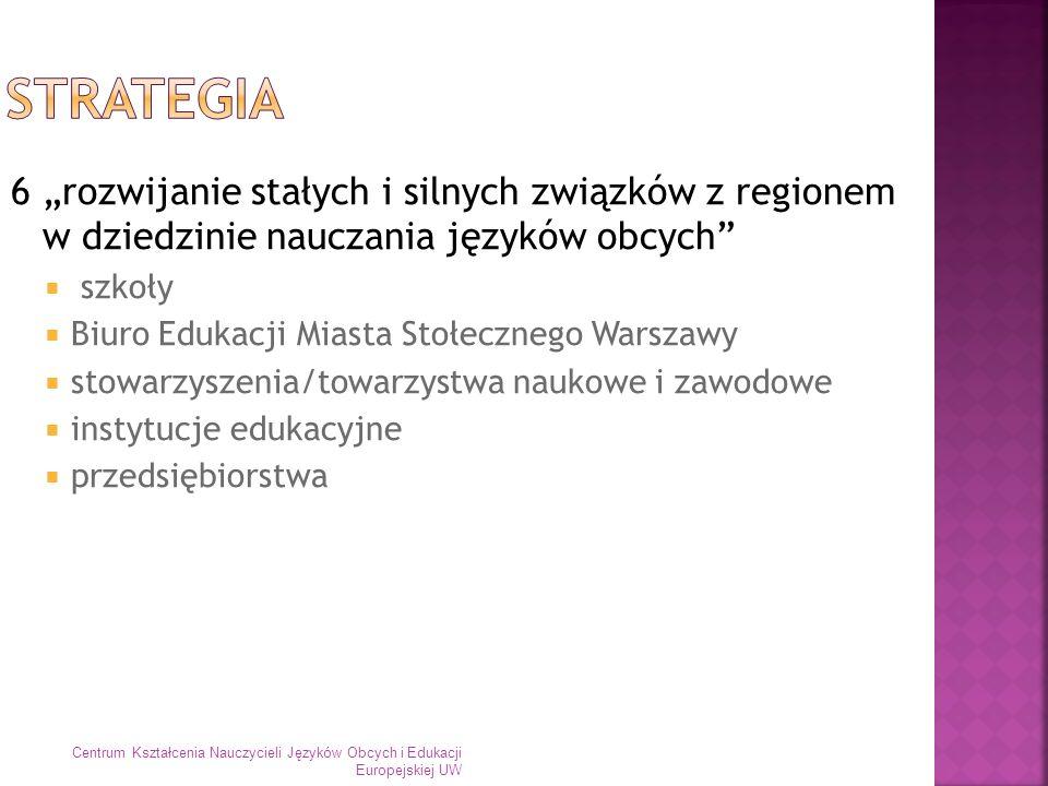 6 rozwijanie stałych i silnych związków z regionem w dziedzinie nauczania języków obcych szkoły Biuro Edukacji Miasta Stołecznego Warszawy stowarzysze
