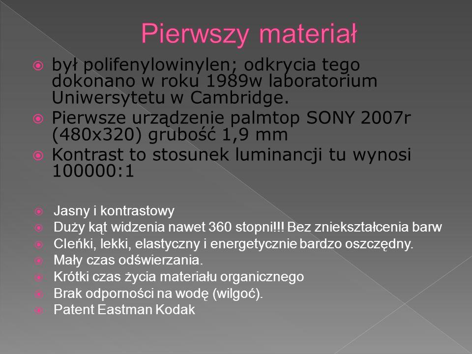 był polifenylowinylen; odkrycia tego dokonano w roku 1989w laboratorium Uniwersytetu w Cambridge. Pierwsze urządzenie palmtop SONY 2007r (480x320) gru