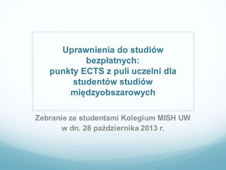 Uprawnienia do studiów bezpłatnych: punkty ECTS z puli uczelni dla studentów studiów międzyobszarowych Zebranie ze studentami Kolegium MISH UW w dn. 2