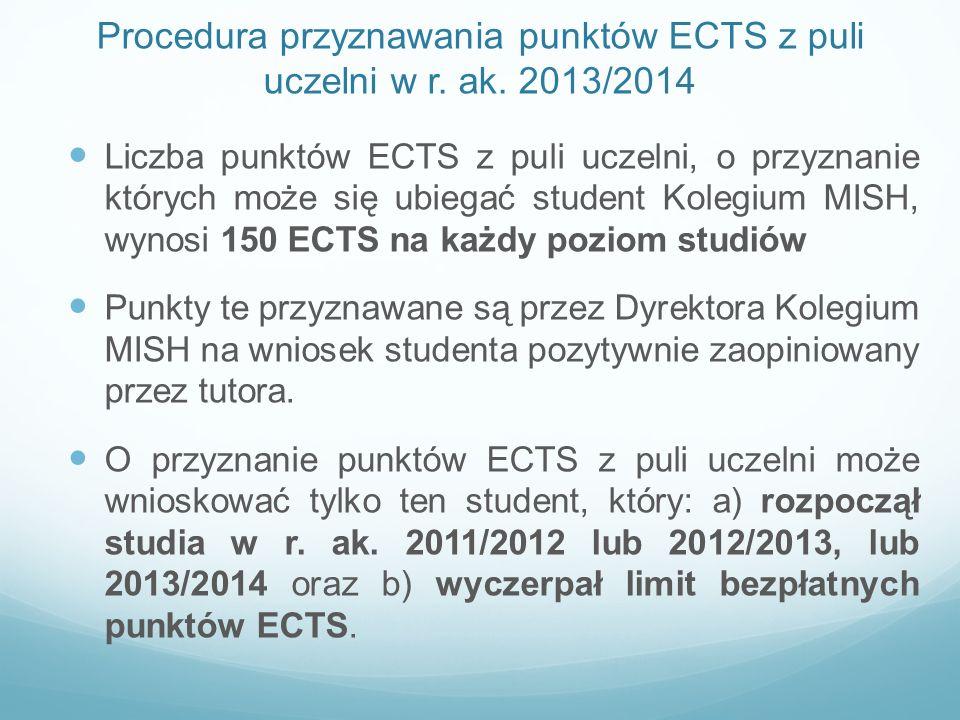 Procedura przyznawania punktów ECTS z puli uczelni w r. ak. 2013/2014 Liczba punktów ECTS z puli uczelni, o przyznanie których może się ubiegać studen