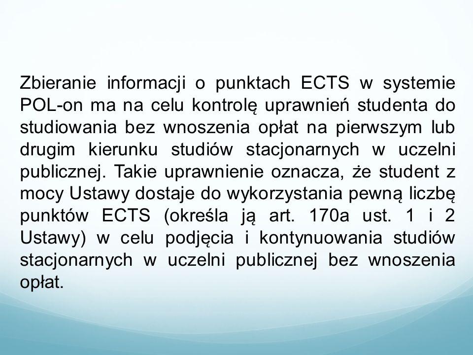 Zbieranie informacji o punktach ECTS w systemie POL-on ma na celu kontrole ̨ uprawnień studenta do studiowania bez wnoszenia opłat na pierwszym lub d
