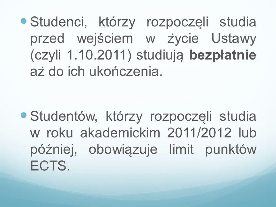 Studenci, którzy rozpocze ̨ li studia przed wejściem w z ̇ ycie Ustawy (czyli 1.10.2011) studiuja ̨ bezpłatnie az ̇ do ich ukończenia. Studentów, kt