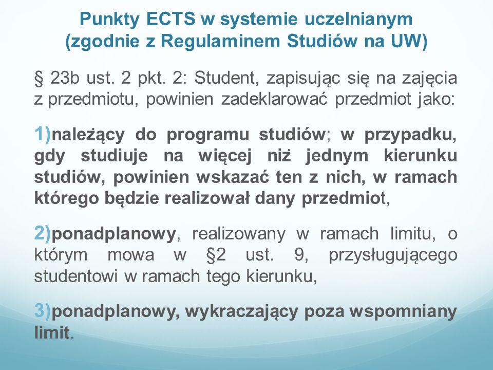 Punkty ECTS w systemie uczelnianym (zgodnie z Regulaminem Studiów na UW) § 23b ust. 2 pkt. 2: Student, zapisuja ̨ c sie ̨ na zaje ̨ cia z przedmiotu,