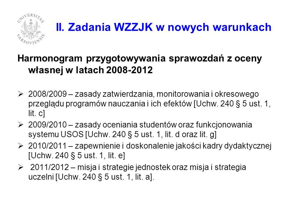 II. Zadania WZZJK w nowych warunkach Harmonogram przygotowywania sprawozdań z oceny własnej w latach 2008-2012 2008/2009 – zasady zatwierdzania, monit
