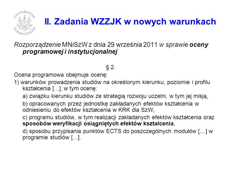 II. Zadania WZZJK w nowych warunkach Rozporządzenie MNiSzW z dnia 29 września 2011 w sprawie oceny programowej i instytucjonalnej § 2. Ocena programow