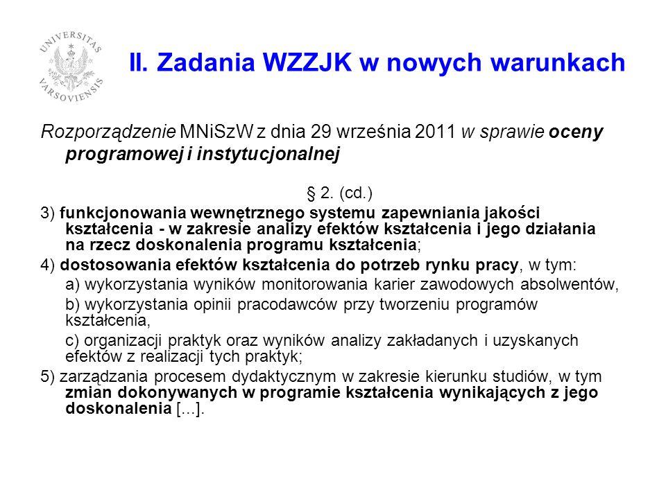 II. Zadania WZZJK w nowych warunkach Rozporządzenie MNiSzW z dnia 29 września 2011 w sprawie oceny programowej i instytucjonalnej § 2. (cd.) 3) funkcj
