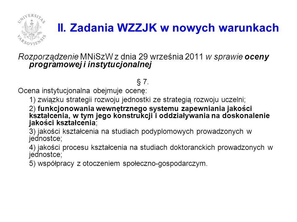 II. Zadania WZZJK w nowych warunkach Rozporządzenie MNiSzW z dnia 29 września 2011 w sprawie oceny programowej i instytucjonalnej § 7. Ocena instytucj