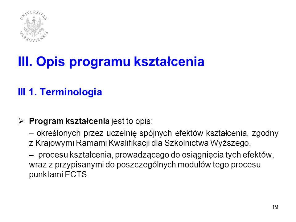 III. Opis programu kształcenia III 1. Terminologia Program kształcenia jest to opis: – określonych przez uczelnię spójnych efektów kształcenia, zgodny