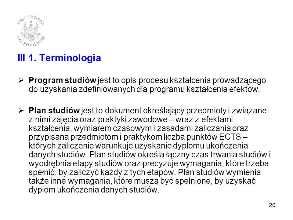 III 1. Terminologia Program studiów jest to opis procesu kształcenia prowadzącego do uzyskania zdefiniowanych dla programu kształcenia efektów. Plan s