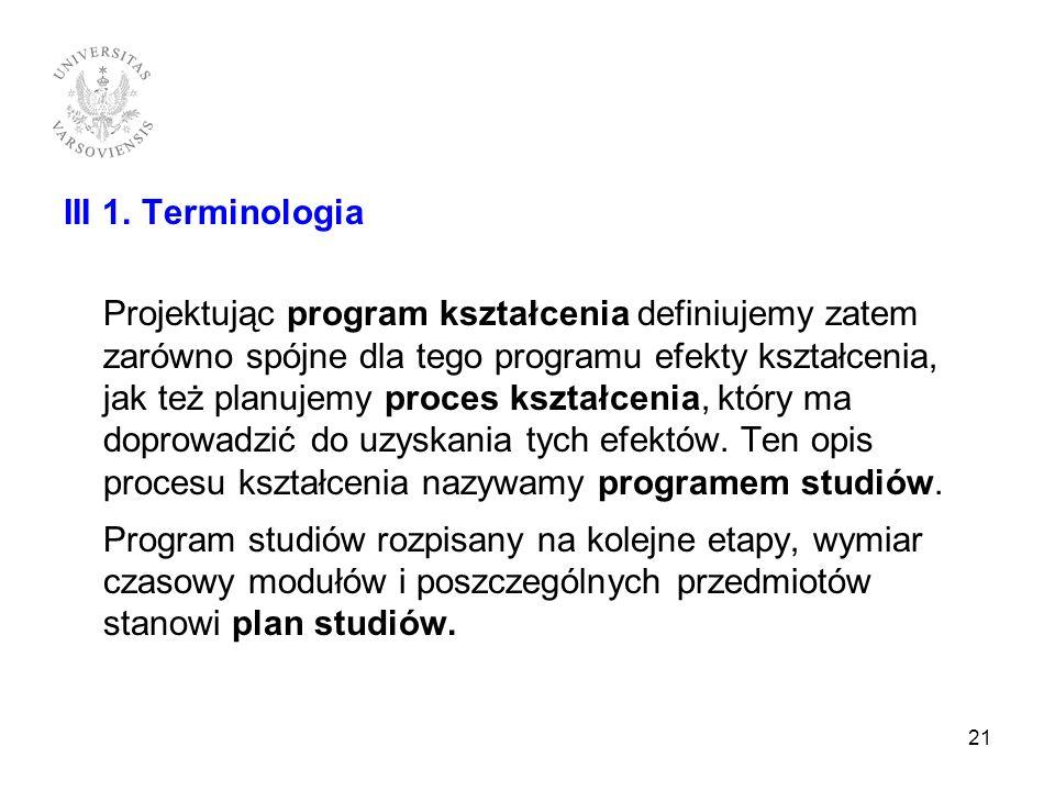 III 1. Terminologia Projektując program kształcenia definiujemy zatem zarówno spójne dla tego programu efekty kształcenia, jak też planujemy proces ks