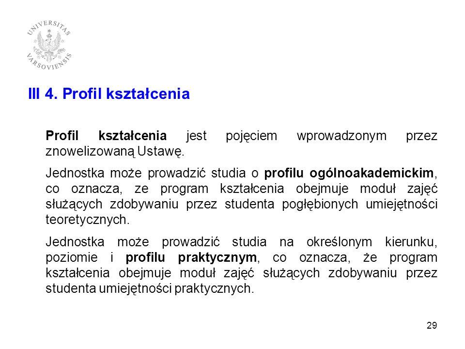 III 4. Profil kształcenia Profil kształcenia jest pojęciem wprowadzonym przez znowelizowaną Ustawę. Jednostka może prowadzić studia o profilu ogólnoak
