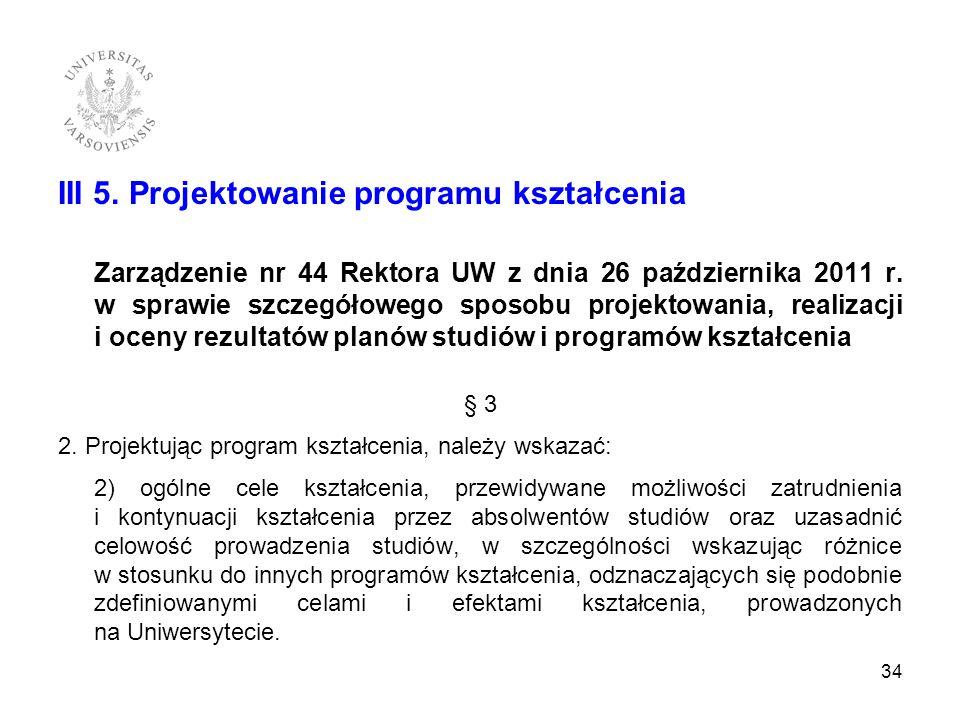 III 5. Projektowanie programu kształcenia Zarządzenie nr 44 Rektora UW z dnia 26 października 2011 r. w sprawie szczegółowego sposobu projektowania, r