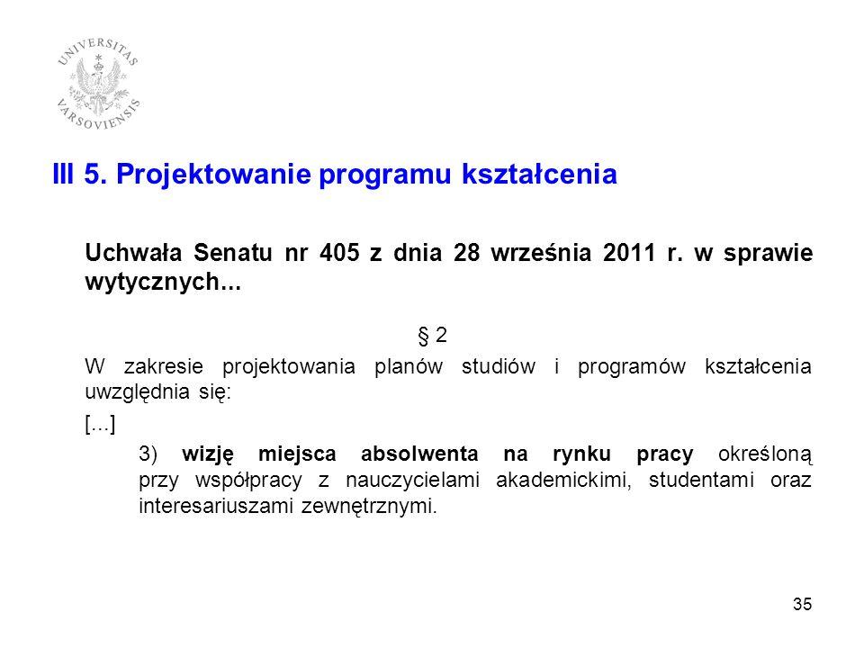 III 5. Projektowanie programu kształcenia Uchwała Senatu nr 405 z dnia 28 września 2011 r. w sprawie wytycznych... § 2 W zakresie projektowania planów