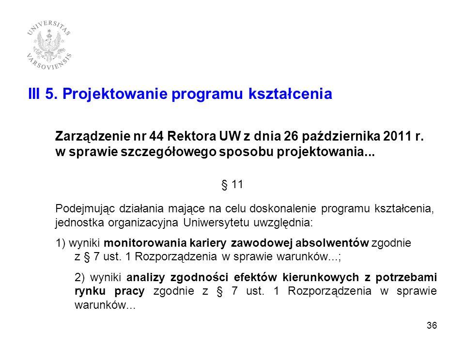 III 5. Projektowanie programu kształcenia Zarządzenie nr 44 Rektora UW z dnia 26 października 2011 r. w sprawie szczegółowego sposobu projektowania...