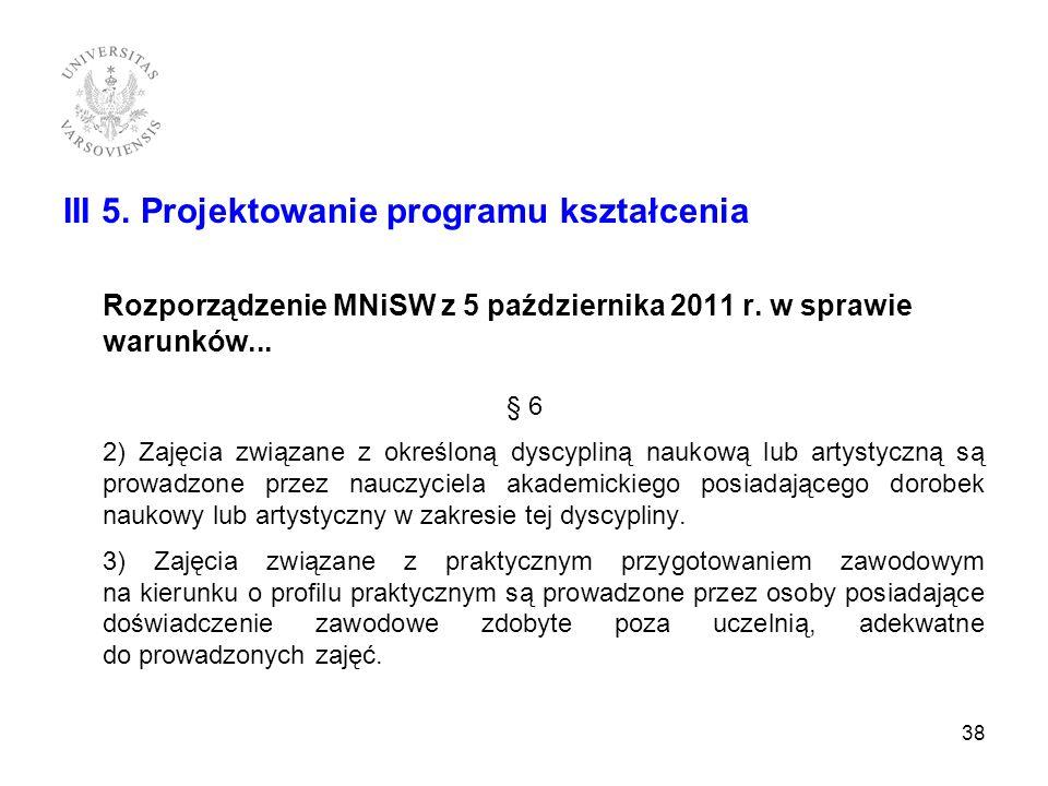 III 5. Projektowanie programu kształcenia Rozporządzenie MNiSW z 5 października 2011 r. w sprawie warunków... § 6 2) Zajęcia związane z określoną dysc