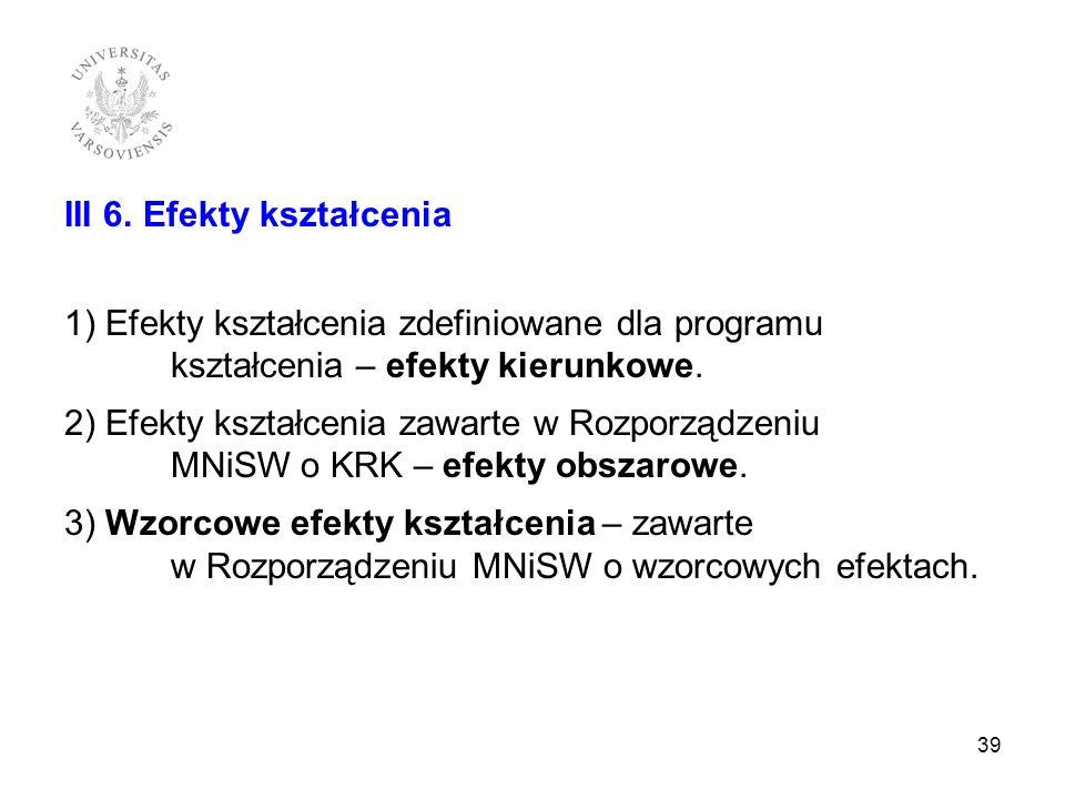 III 6. Efekty kształcenia 1) Efekty kształcenia zdefiniowane dla programu kształcenia – efekty kierunkowe. 2) Efekty kształcenia zawarte w Rozporządze