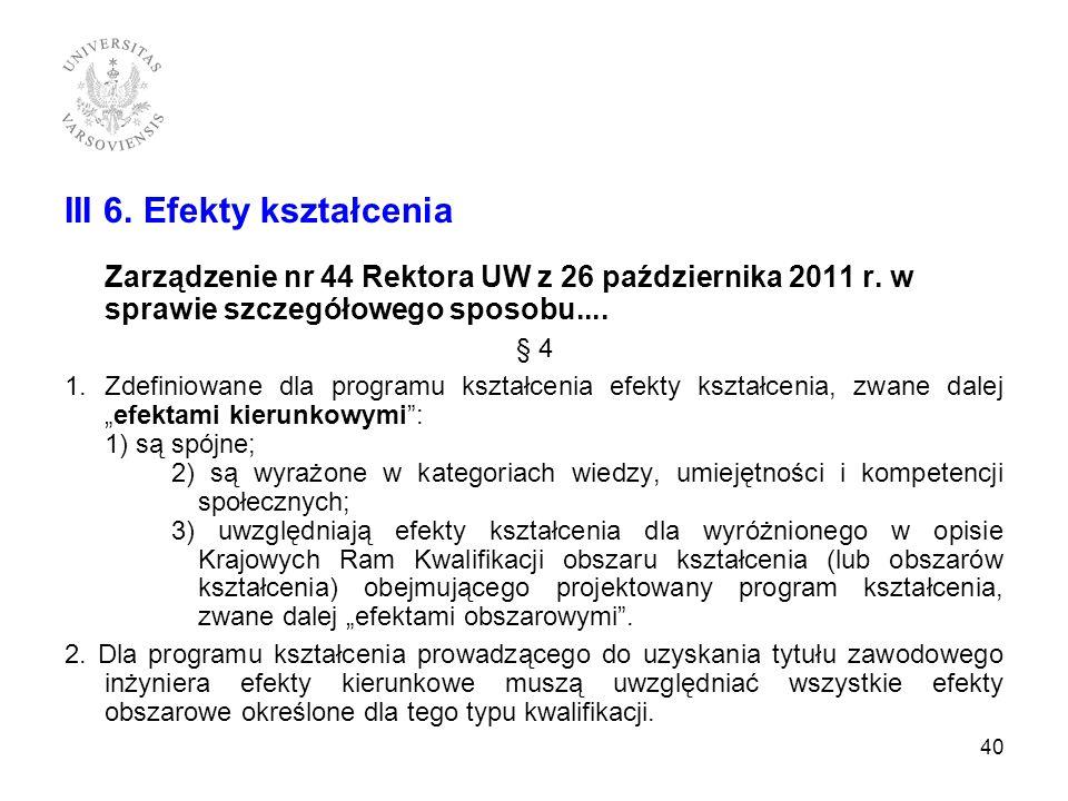 III 6. Efekty kształcenia Zarządzenie nr 44 Rektora UW z 26 października 2011 r. w sprawie szczegółowego sposobu.... § 4 1.Zdefiniowane dla programu k