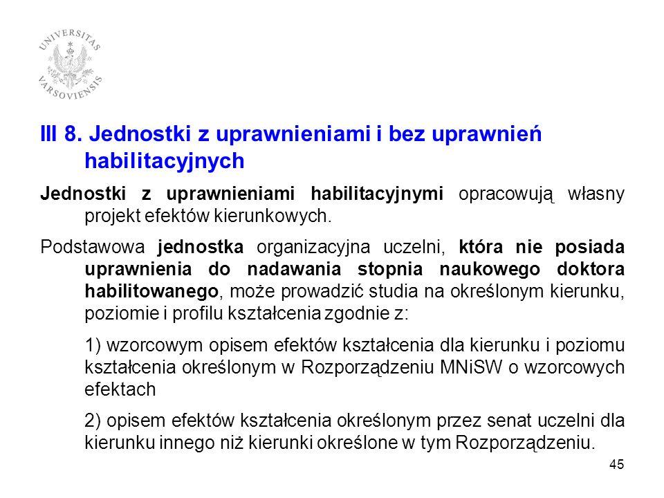 III 8. Jednostki z uprawnieniami i bez uprawnień habilitacyjnych Jednostki z uprawnieniami habilitacyjnymi opracowują własny projekt efektów kierunkow