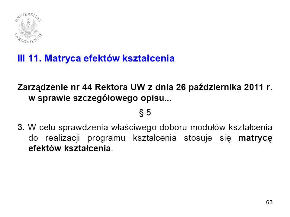III 11. Matryca efektów kształcenia Zarządzenie nr 44 Rektora UW z dnia 26 października 2011 r. w sprawie szczegółowego opisu... § 5 3. W celu sprawdz