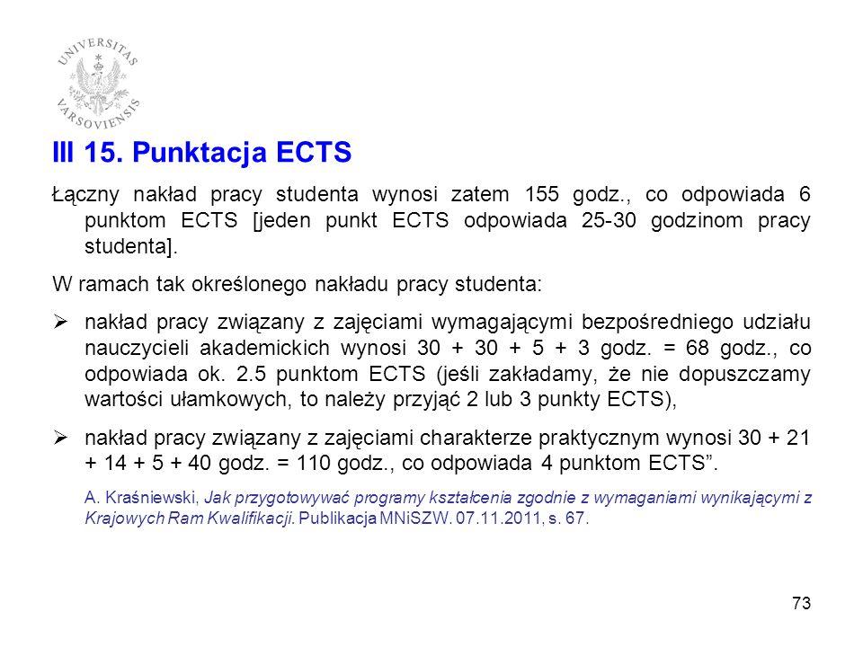 III 15. Punktacja ECTS Łączny nakład pracy studenta wynosi zatem 155 godz., co odpowiada 6 punktom ECTS [jeden punkt ECTS odpowiada 25-30 godzinom pra