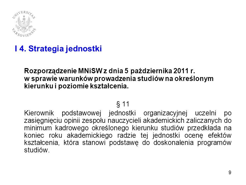 I 4. Strategia jednostki Rozporządzenie MNiSW z dnia 5 października 2011 r. w sprawie warunków prowadzenia studiów na określonym kierunku i poziomie k