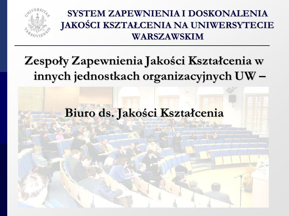 BIURO DS.JAKOŚCI KSZTAŁCENIA BIURO DS. JAKOŚCI KSZTAŁCENIA Sekcja Pełnomocnika ds.