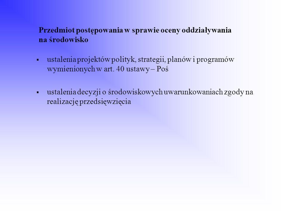 Przedmiot postępowania w sprawie oceny oddziaływania na środowisko ustalenia projektów polityk, strategii, planów i programów wymienionych w art. 40 u