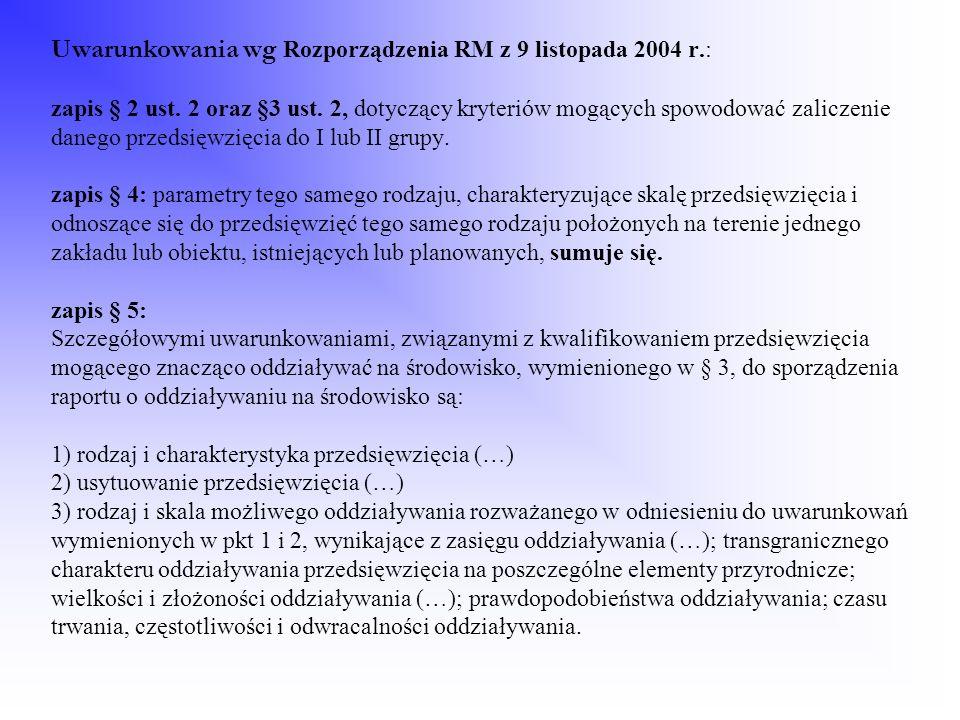 Uwarunkowania wg Rozporządzenia RM z 9 listopada 2004 r.: zapis § 2 ust. 2 oraz §3 ust. 2, dotyczący kryteriów mogących spowodować zaliczenie danego p