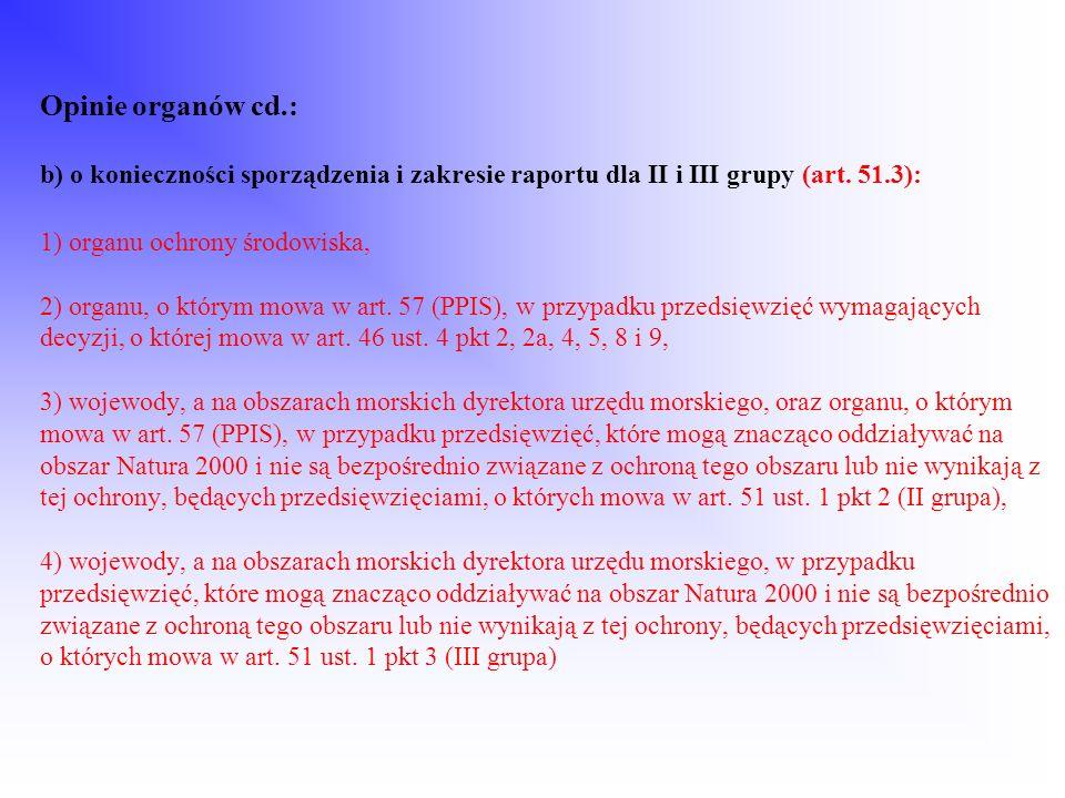 Opinie organów cd.: b) o konieczności sporządzenia i zakresie raportu dla II i III grupy (art. 51.3): 1) organu ochrony środowiska, 2) organu, o który