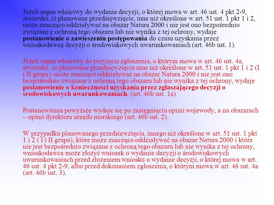 Jeżeli organ właściwy do wydania decyzji, o której mowa w art. 46 ust. 4 pkt 2-9, stwierdzi, iż planowane przedsięwzięcie, inne niż określone w art. 5