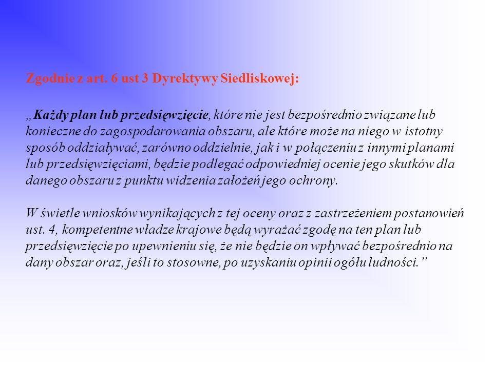 Zgodnie z art. 6 ust 3 Dyrektywy Siedliskowej:Każdy plan lub przedsięwzięcie, które nie jest bezpośrednio związane lub konieczne do zagospodarowania o