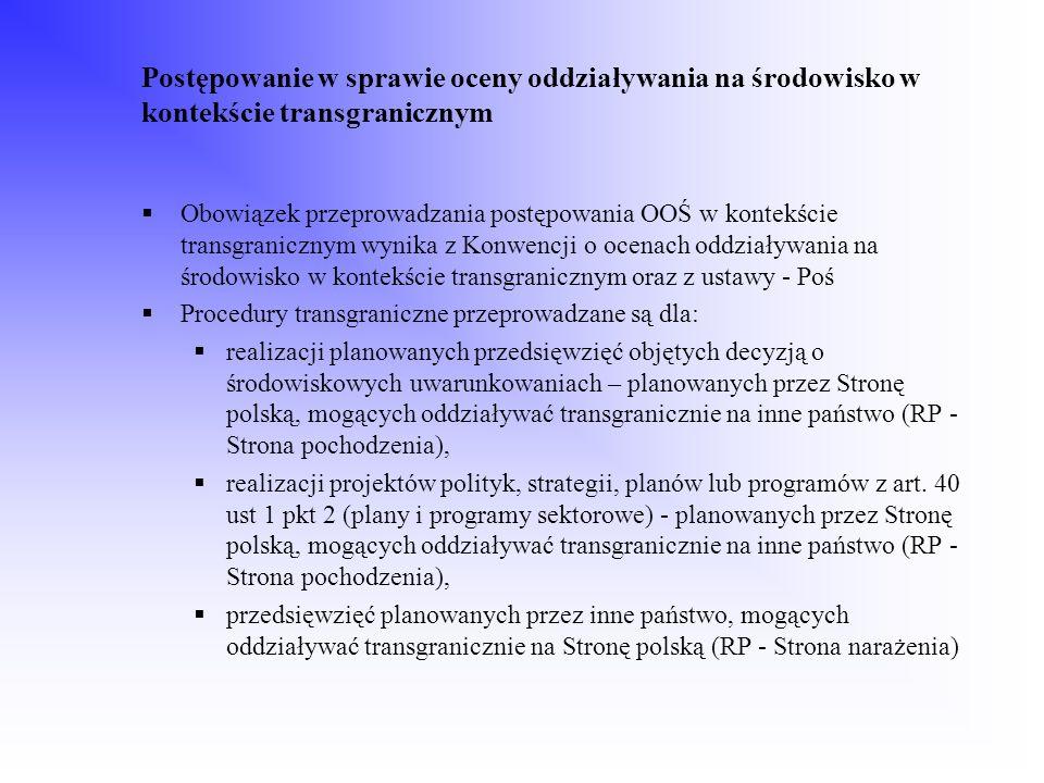 Postępowanie w sprawie oceny oddziaływania na środowisko w kontekście transgranicznym Obowiązek przeprowadzania postępowania OOŚ w kontekście transgra