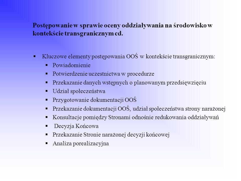 Postępowanie w sprawie oceny oddziaływania na środowisko w kontekście transgranicznym cd. Kluczowe elementy postępowania OOŚ w kontekście transgranicz