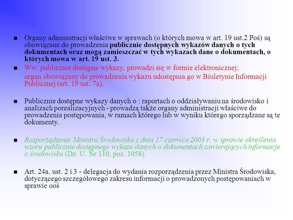 Organy administracji właściwe w sprawach (o których mowa w art. 19 ust.2 Poś) są obowiązane do prowadzenia publicznie dostępnych wykazów danych o tych