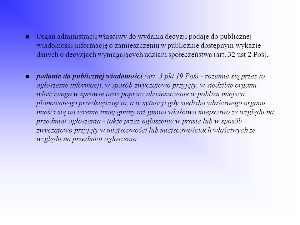 Organ administracji właściwy do wydania decyzji podaje do publicznej wiadomości informację o zamieszczeniu w publicznie dostępnym wykazie danych o dec