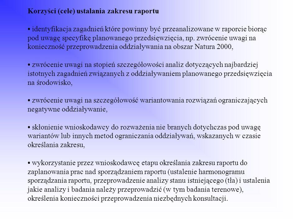 Korzyści (cele) ustalania zakresu raportu identyfikacja zagadnień które powinny być przeanalizowane w raporcie biorąc pod uwagę specyfikę planowanego