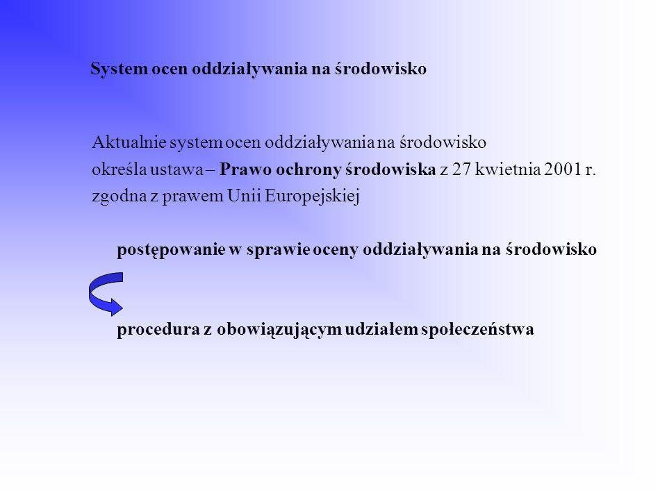 System ocen oddziaływania na środowisko Aktualnie system ocen oddziaływania na środowisko określa ustawa – Prawo ochrony środowiska z 27 kwietnia 2001