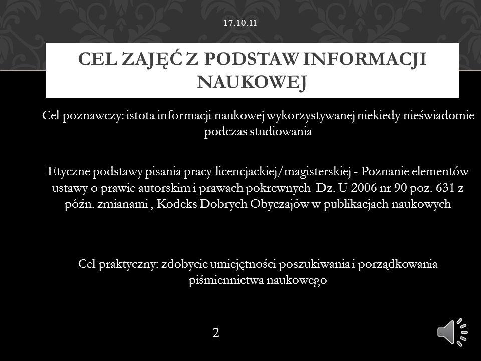 17.10.11 Podstawy informacji naukowej Cz. 2 Bibliografia