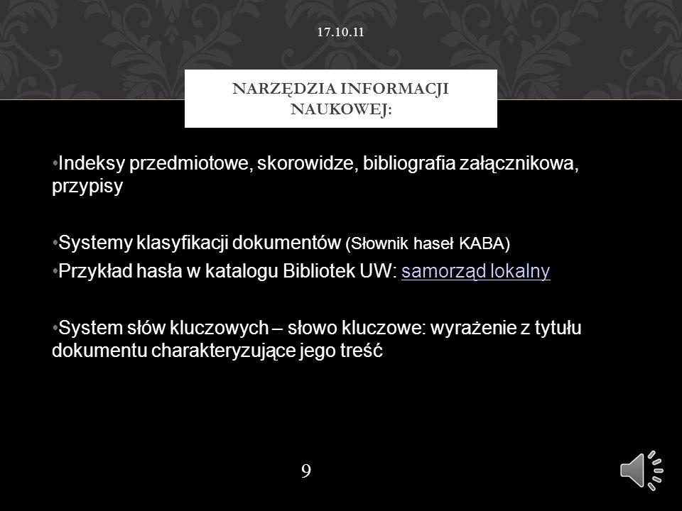 Inne źródła sporządzania opisów bibliograficznych Biblioteka Politechniki Warszawskiej BUW – pomoce w pdf