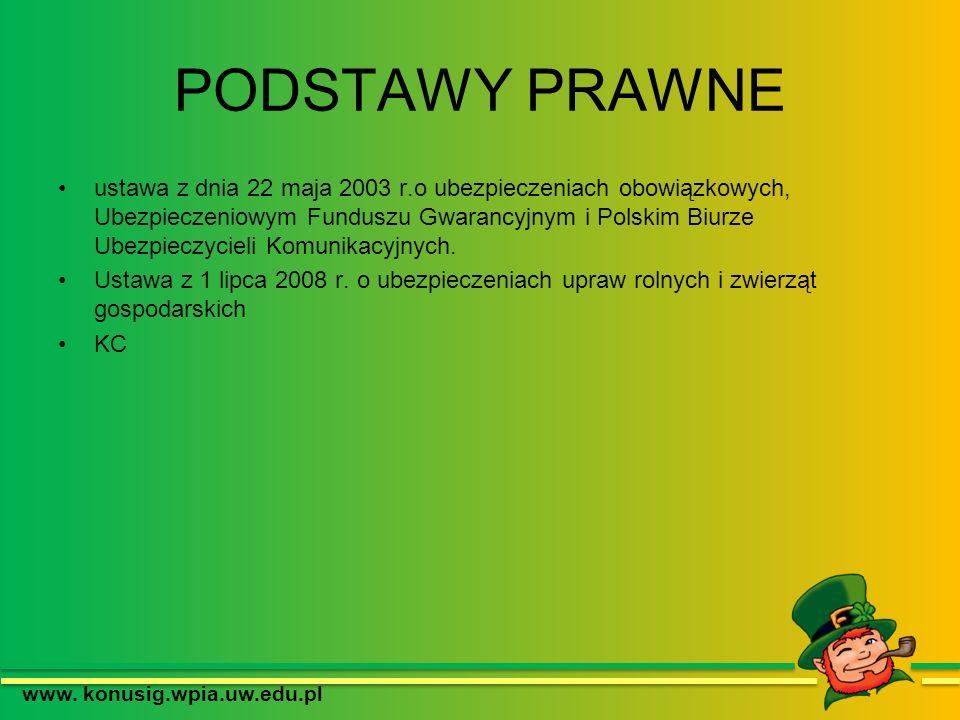 PODSTAWY PRAWNE ustawa z dnia 22 maja 2003 r.o ubezpieczeniach obowiązkowych, Ubezpieczeniowym Funduszu Gwarancyjnym i Polskim Biurze Ubezpieczycieli