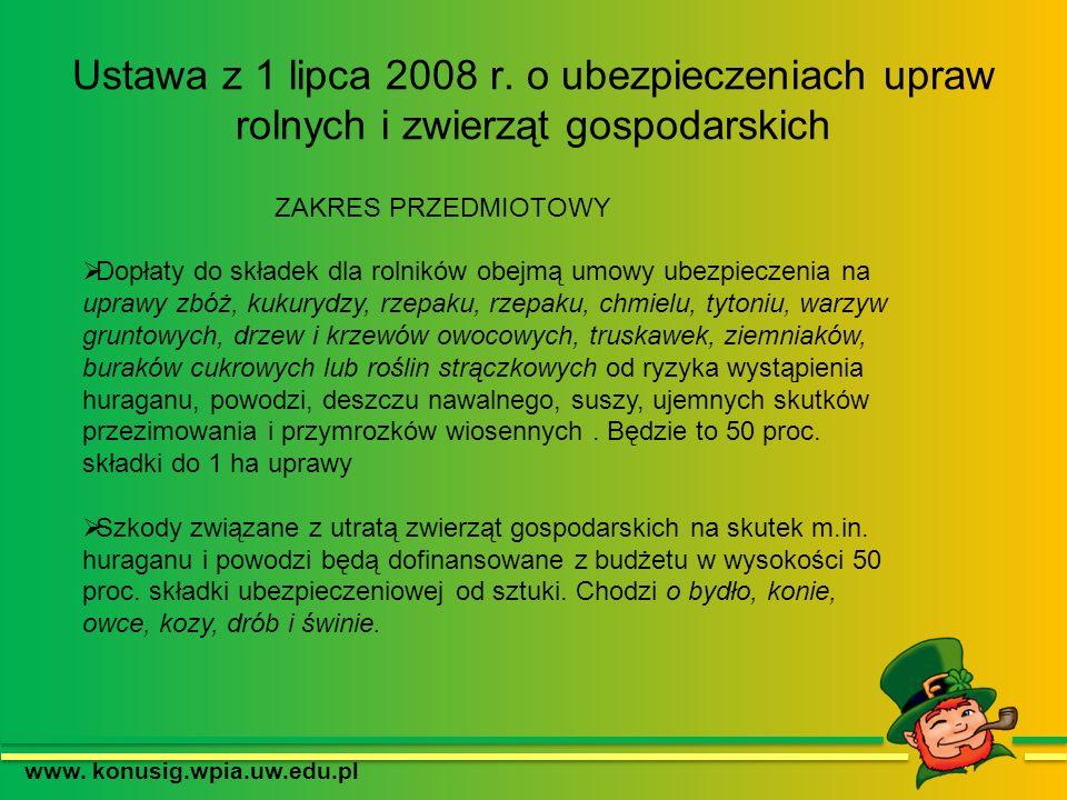www. konusig.wpia.uw.edu.pl ZAKRES PRZEDMIOTOWY Dopłaty do składek dla rolników obejmą umowy ubezpieczenia na uprawy zbóż, kukurydzy, rzepaku, rzepaku