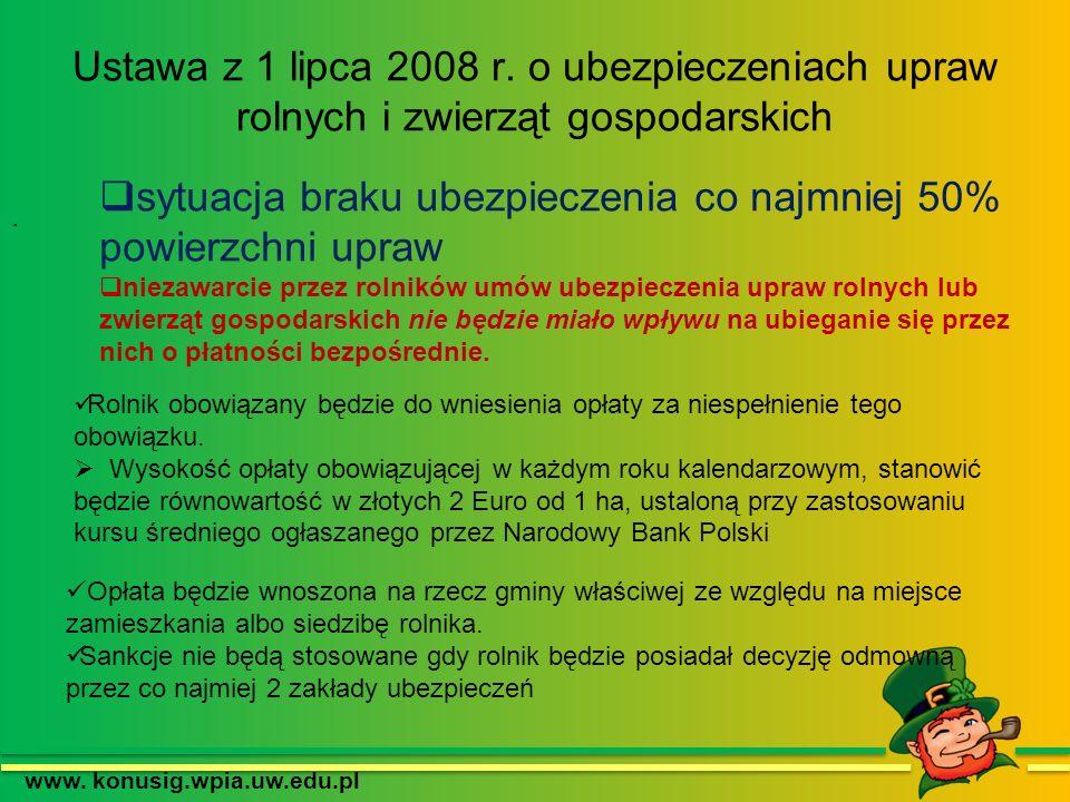 www. konusig.wpia.uw.edu.pl Ustawa z 1 lipca 2008 r. o ubezpieczeniach upraw rolnych i zwierząt gospodarskich. sytuacja braku ubezpieczenia co najmnie