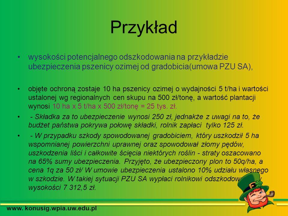 Przykład wysokości potencjalnego odszkodowania na przykładzie ubezpieczenia pszenicy ozimej od gradobicia(umowa PZU SA), objęte ochroną zostaje 10 ha
