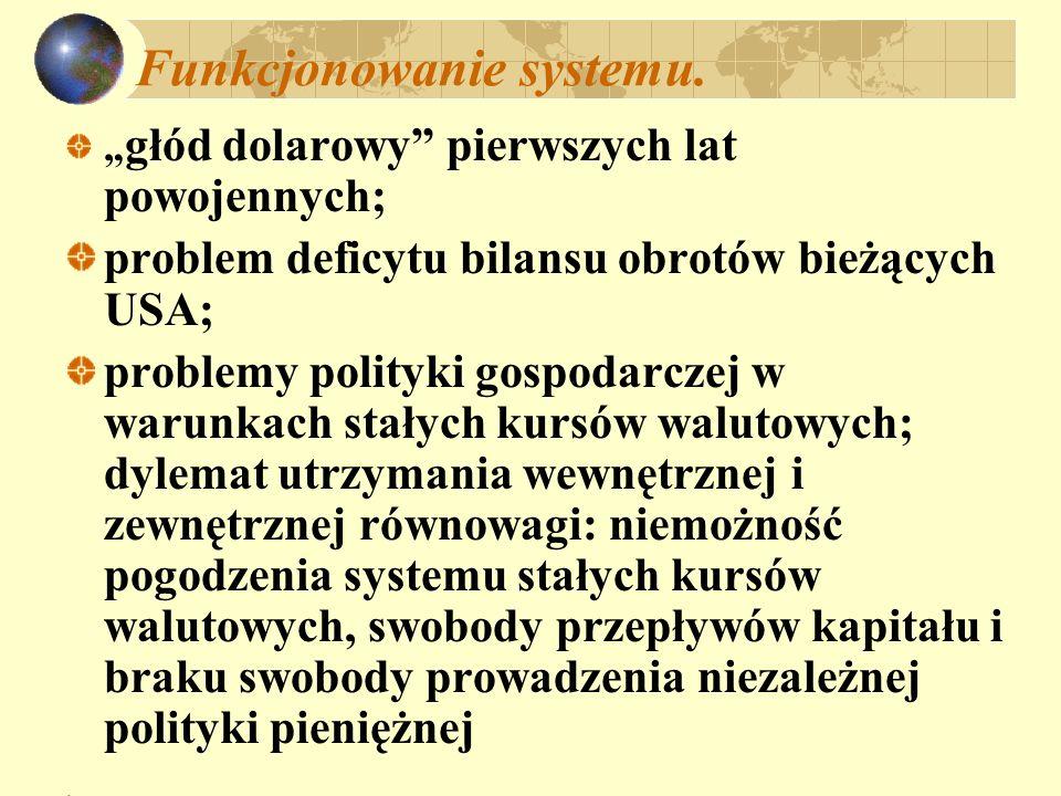 Funkcjonowanie systemu. głód dolarowy pierwszych lat powojennych; problem deficytu bilansu obrotów bieżących USA; problemy polityki gospodarczej w war