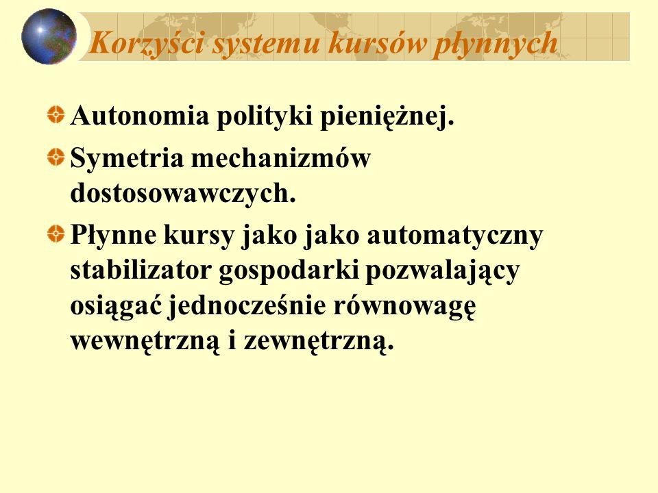 Korzyści systemu kursów płynnych Autonomia polityki pieniężnej. Symetria mechanizmów dostosowawczych. Płynne kursy jako jako automatyczny stabilizator