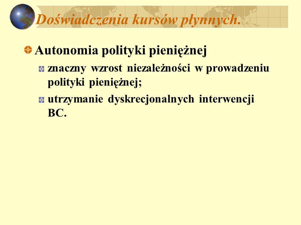 Doświadczenia kursów płynnych. Autonomia polityki pieniężnej znaczny wzrost niezależności w prowadzeniu polityki pieniężnej; utrzymanie dyskrecjonalny
